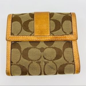 Coach Brown Leather Signature Fabric Wallet